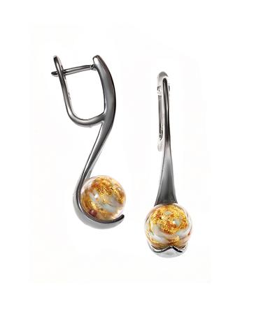 Серьги из муранского стекла золотистые Paola Abbracia