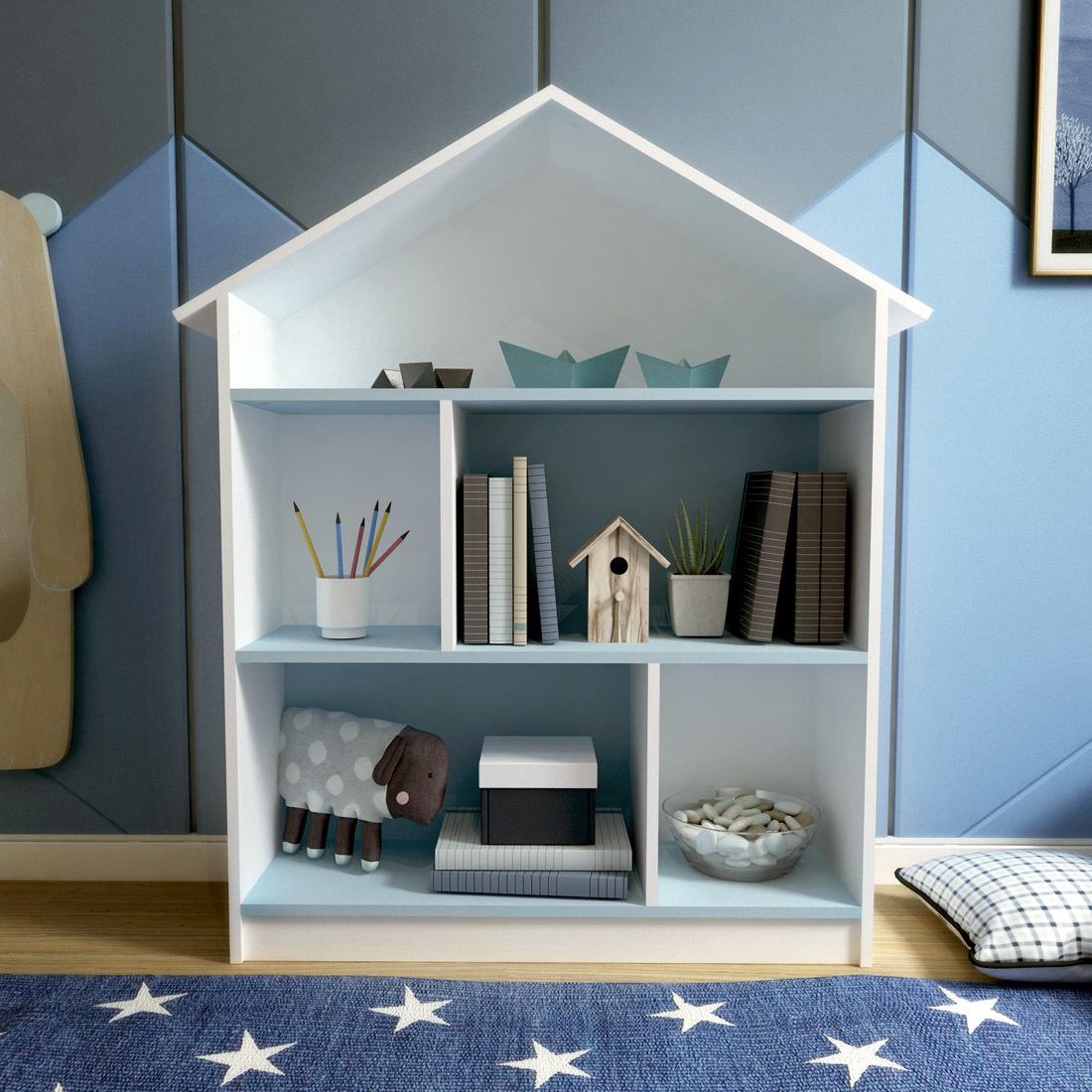 Стеллаж-домик Бело-голубой