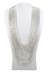 Бисерное ожерелье из 36 нитей серебряное длинное