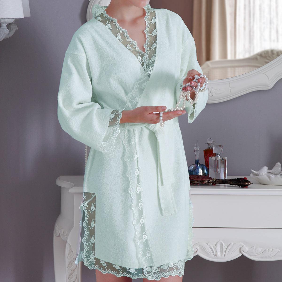 Махровые халаты НАБОР BIANCA бирюзовый женский халат и полотенце Tivolyo Home (Турция) bianca.zel.jpg