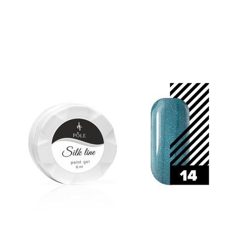 Гель-краска для тонких линий POLE Silk line №14 бирюзовый металлик (6 мл.)