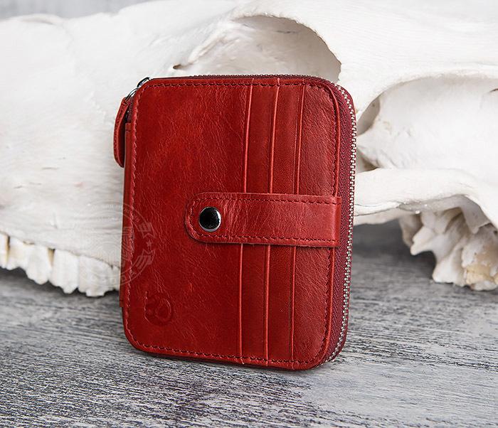 WL289-3 Красный кошелек из натуральной кожи на молнии