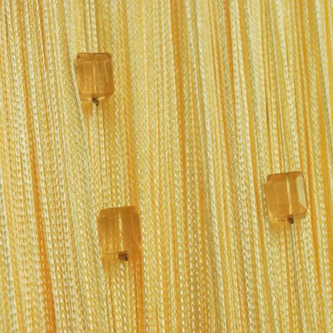 Шторы нити со стеклярусом (кубики) - Желтые. Ш-300см., В-280см. Арт.13