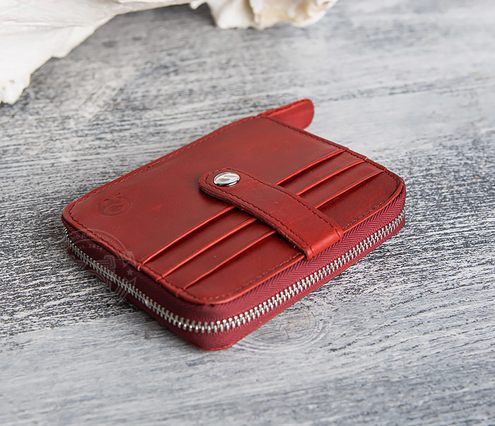 WL289-3 Красный кошелек из натуральной кожи на молнии фото 03