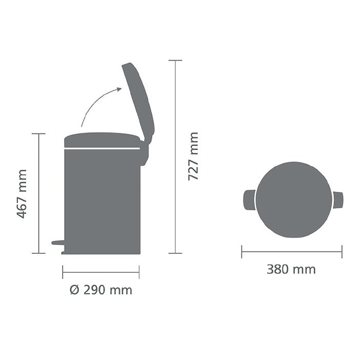 Мусорный бак newicon (20 л), Черный матовый, арт. 114106 - фото 1