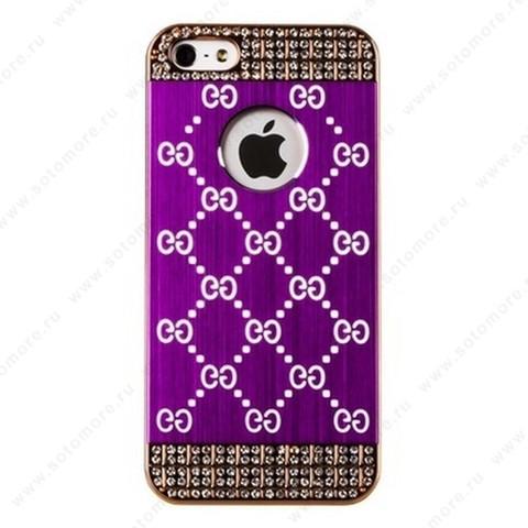 Накладка GUCCI металлическая для iPhone SE/ 5s/ 5C/ 5 золото фиолетовая
