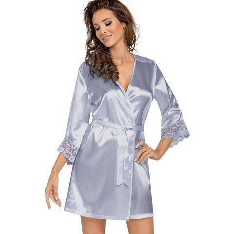 Женский халат с кружевной отделкой Eva (BS) серебристый