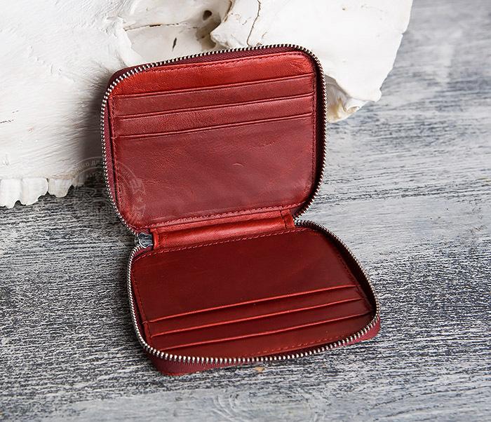 WL289-3 Красный кошелек из натуральной кожи на молнии фото 04