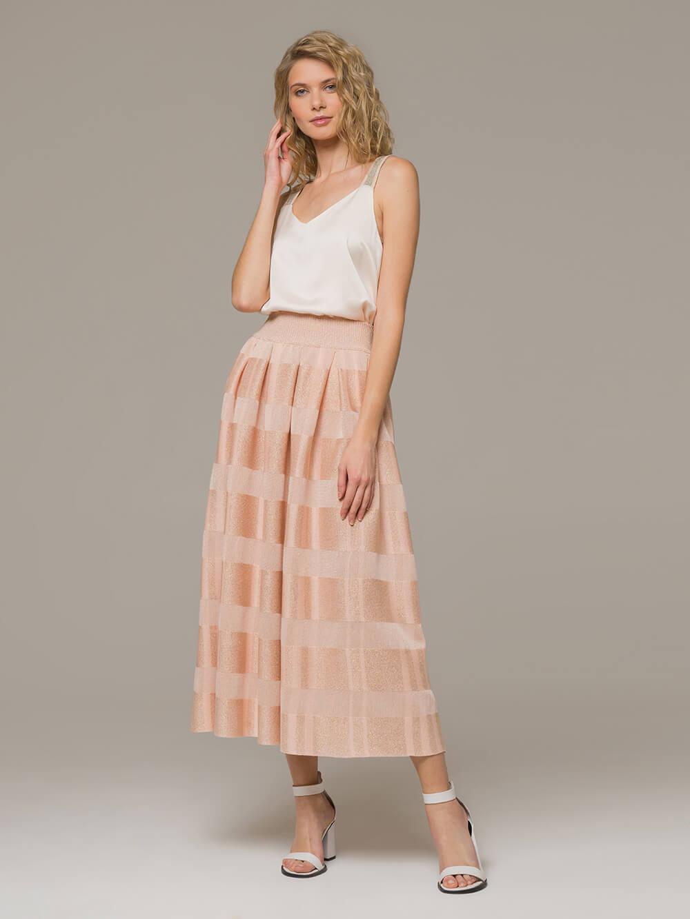 Женская юбка миди персикового цвета - фото 1