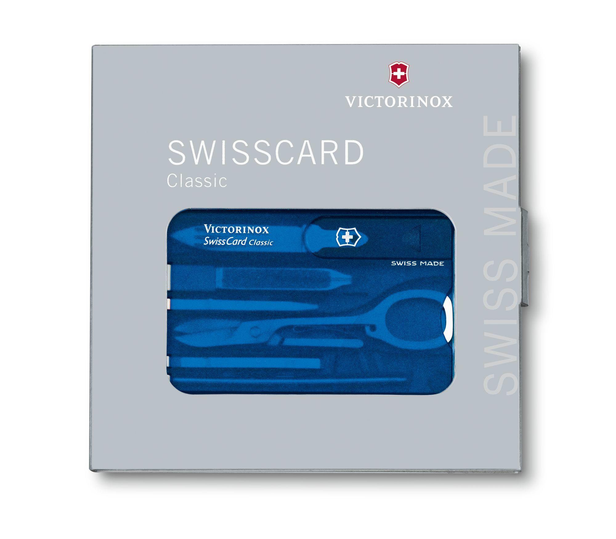 Швейцарская карта Victorinox SwissCard Classic Blue (0.7122.T2) синяя полупрозрачная - Wenger-Victorinox.Ru