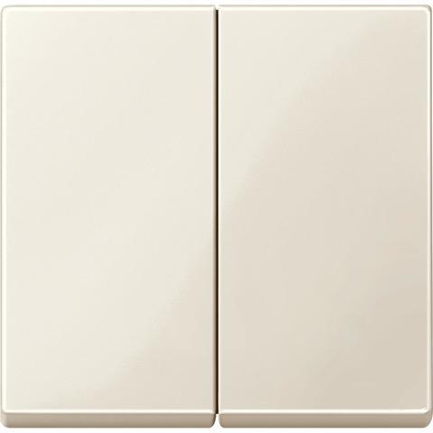 Выключатель двухклавишный проходной. Цвет Бежевый, блестящий. Merten. MTN3126-0000+MTN432544