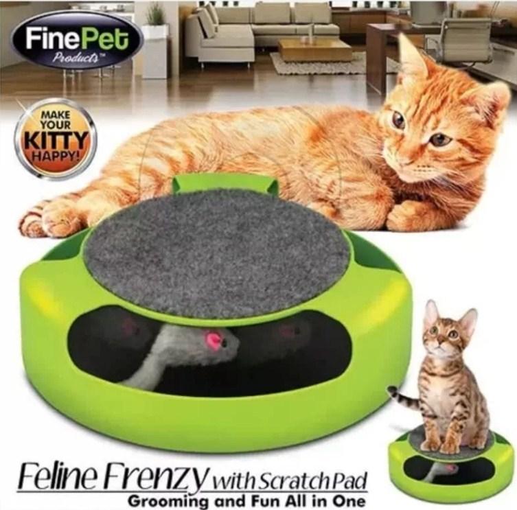 Игрушка для кошек круг с мышкой и когтеточкой фото