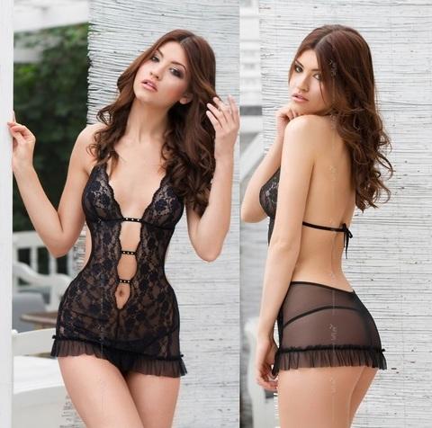 Сексуальное платье с открытой спиной URSULA черное
