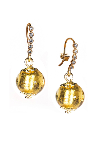 Серьги из муранского стекла со стразами золотые Allegra Gold 004O