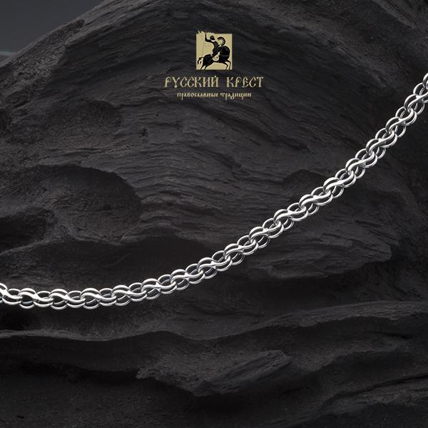 толстая серебряная цепь плетение Ручей.