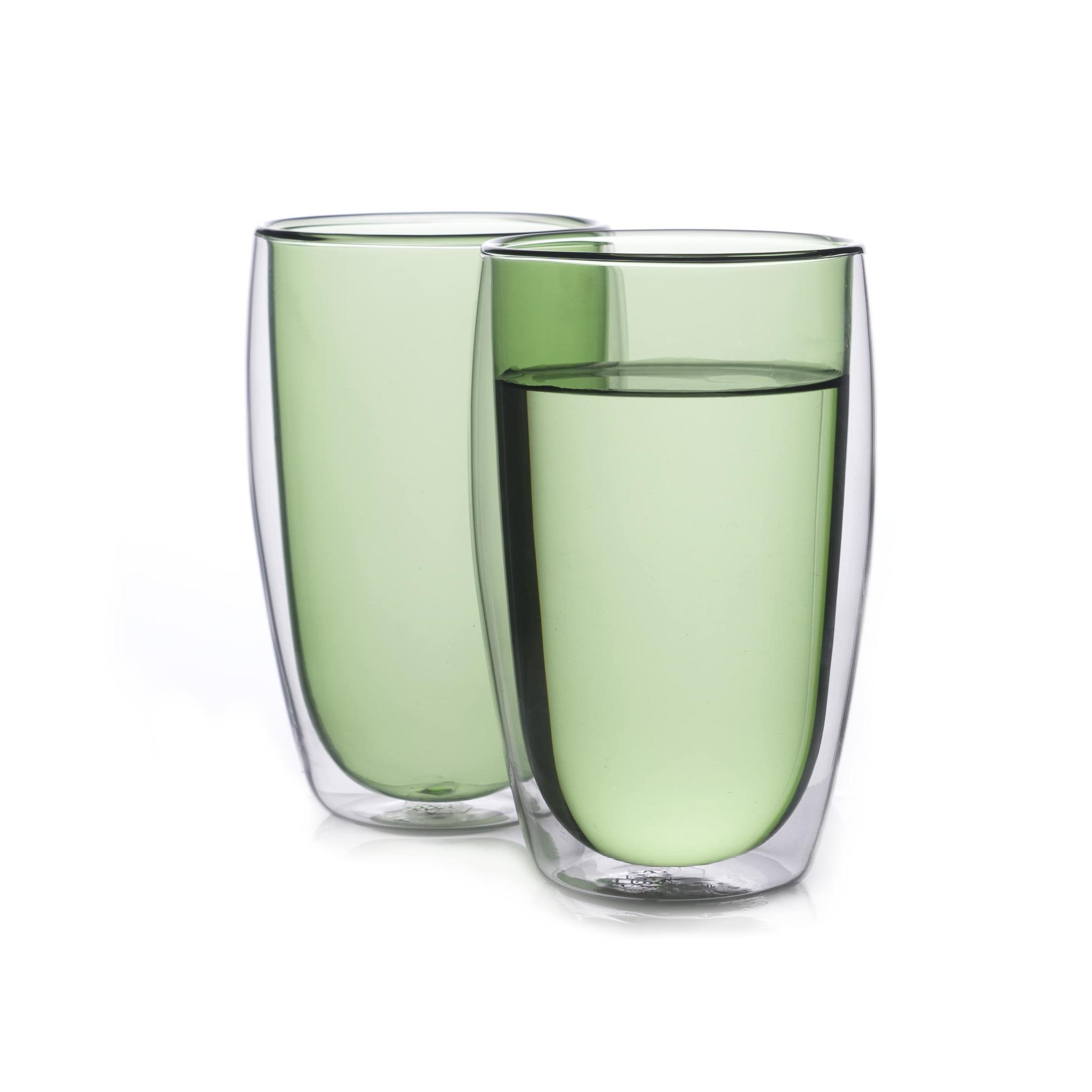 Наборы-Акции Набор стаканов из двойного стекла зеленого цвета 450 мл, 2 шт. зеленый1-min.jpg