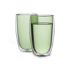 Набор стаканов из двойного стекла зеленого цвета 450 мл, 2 шт.