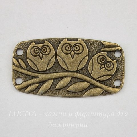 """Коннектор """"Три совы"""" (2-2) 37х20 мм (цвет - античная бронза)"""