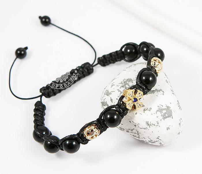 Boroda Design, Мужской браслет шамбала из агата с крестом в стиле Milano