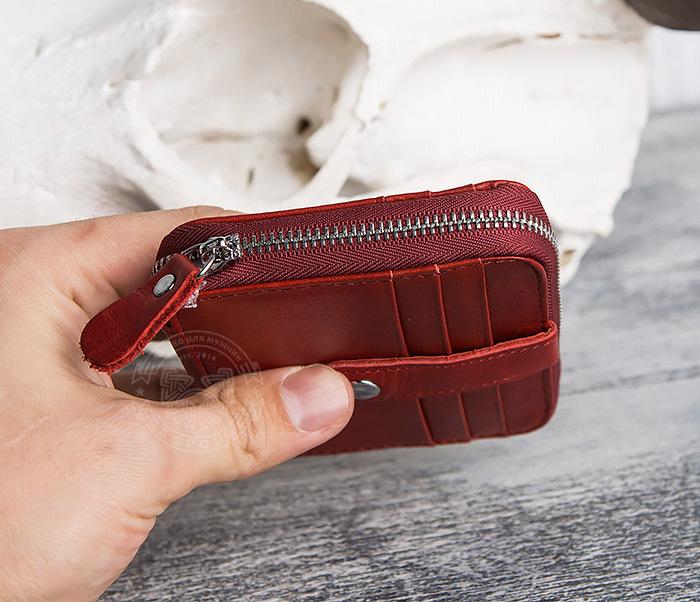 WL289-3 Красный кошелек из натуральной кожи на молнии фото 08