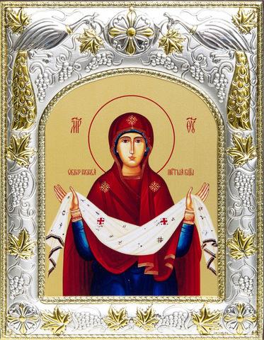 Серебряная икона Божья Матерь Покров 18x14см
