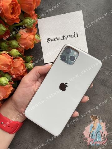 Чехол Iphone 11 Pro Max Glass Silicone Case Logo /white/