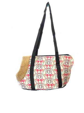 Сумка-переноска для собак с меховой отделкой Фламинго