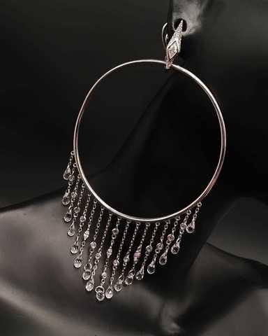 5003- Серьги-обручи Hoop из серебра с каплевидными цирконами