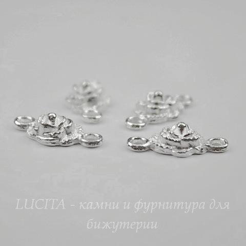 """Коннектор """"Роза"""" (1-1) 18х9 мм (цвет - серебро), 4 штуки"""