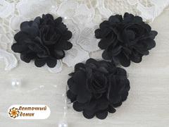 Цветы атласные с фатином черные диаметр 5 см
