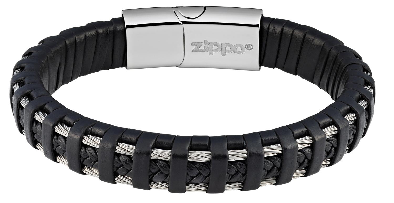 Мужской кожаный со сталью браслет Zippo 2006232