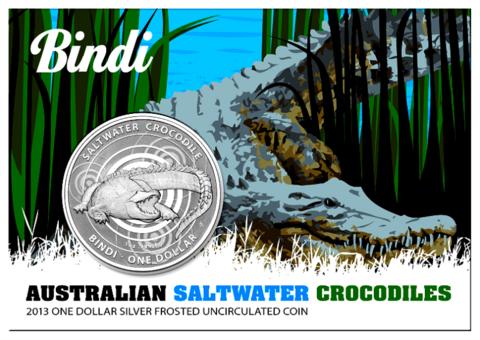 1 доллар. Морской крокодил Аллигатор Бинди. Австралия. 2013 год. Серебро
