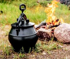 Комплект: печь с дымоходом + афганский казан черный 15л