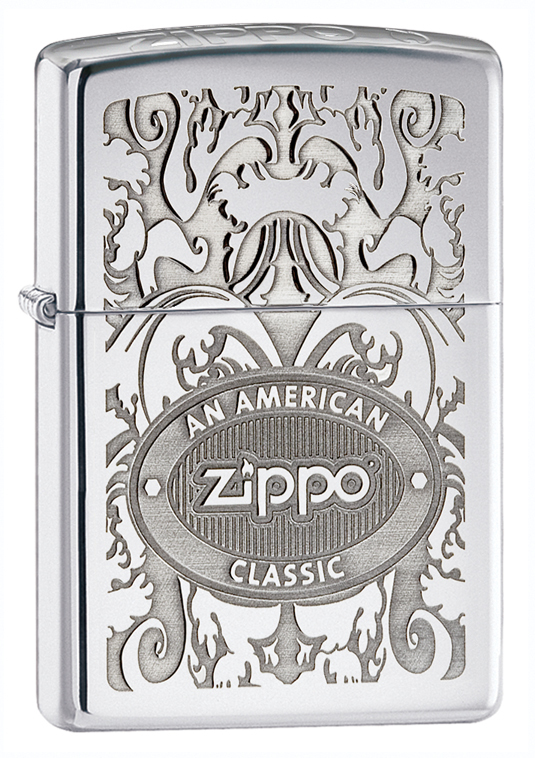 Зажигалка ZIPPO Classic High Polish Chrome™ со Штампом Crown Stamp™ Zippo на торце крышки ZP-24751