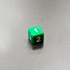 Куб D6: Зеленый 16мм с цифрами