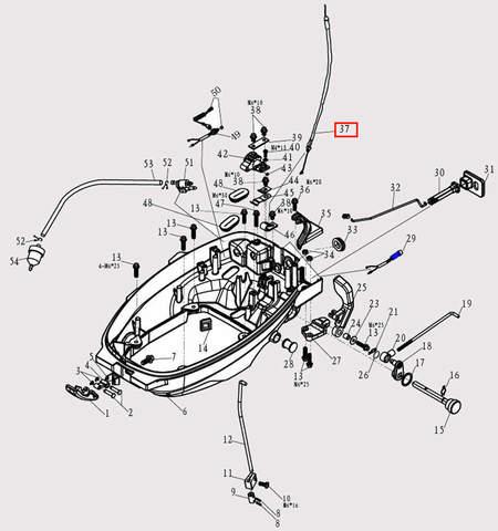 Трос блокировки стартера для лодочного мотора F9.8 Sea-PRO (2-37)
