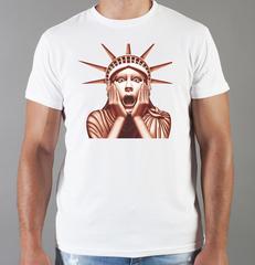 Футболка с принтом США, Статуя Свободы (USA/ Statue of Liberty ) белая 0010