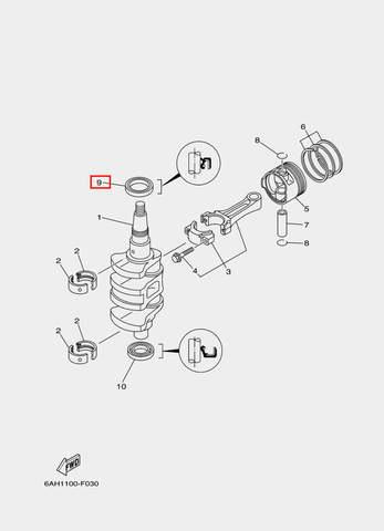 Сальник коленвала верхний для лодочного мотора F20 Sea-PRO 25×50×7 (3-9)