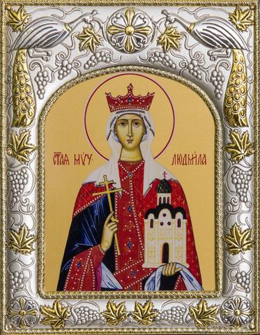 Серебряная икона именная Людмила 18x14см