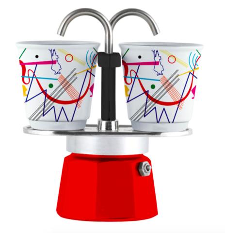Bialetti Mini Express Arte Kandinsky, Гейзерная кофеварка на 2 порции с 2-мя чашками