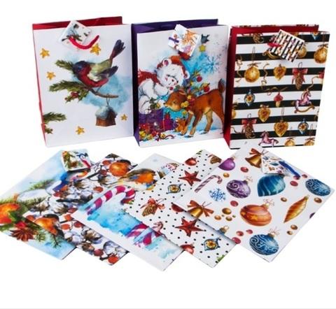 Пакет бумажный матовый Ретро Новый год, размер: 18х23х10 см, (в ассортименте), 1 шт.
