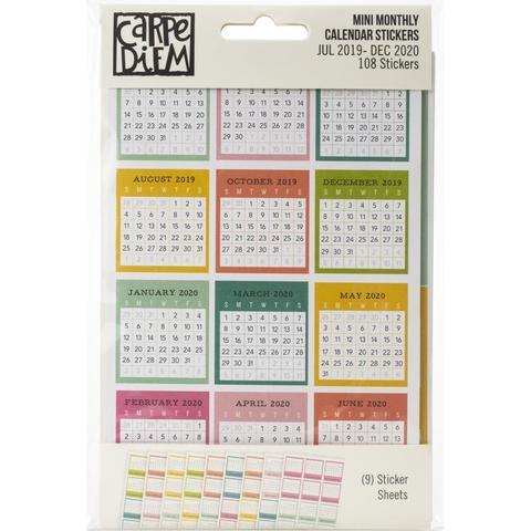Стикербук календарь- Carpe Diem Dated Mini Calendar Stickers - июль 2019- декабрь 2020год