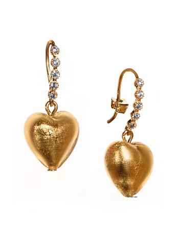 Серьги из муранского стекла в виде сердца со стразами золотые Allegra Cuori Gold