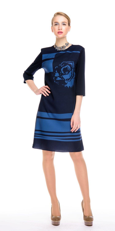 Платье З140-378 - Платье прямого силуэта, с оригинальным принтом в виде графичной розы на груди и однотонной спинкой.Комфортный рукав 3/4.  Прекрасно сиди на фигуре любого типа. Модель для офиса и на каждый день.