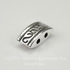 Разделитель на 2 нити 10х5х4 мм (цвет - античное серебро)