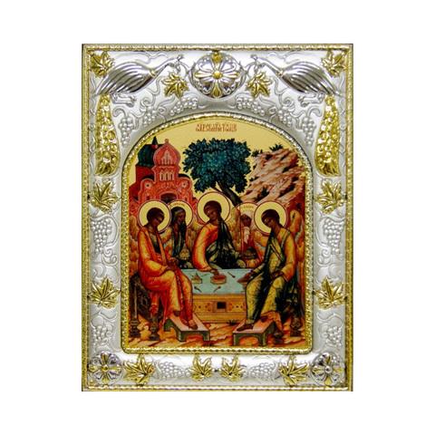 Серебряная икона Святая Троица 18x14см