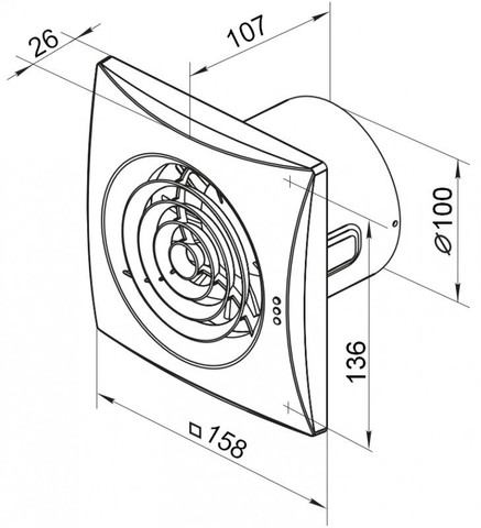 Накладной вентилятор VENTS 100 QUIET TH  (датчик влажности, таймер)