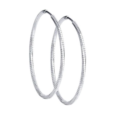 94140085- Серьги-конго Ø50 мм из серебра с алмазной гранью