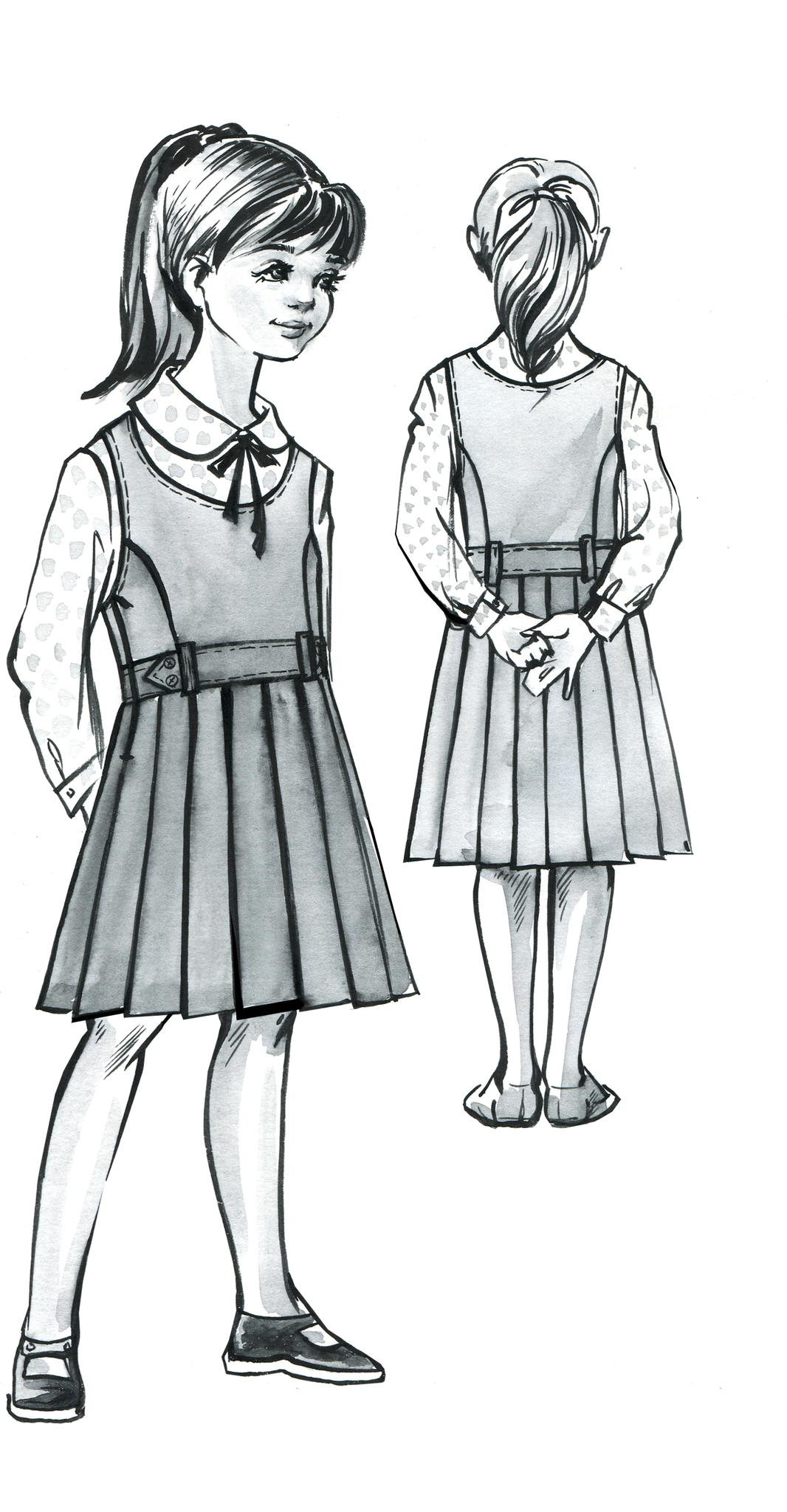 Выкройка школьного сарафана с юбкой в складку и овальным вырезом горловины