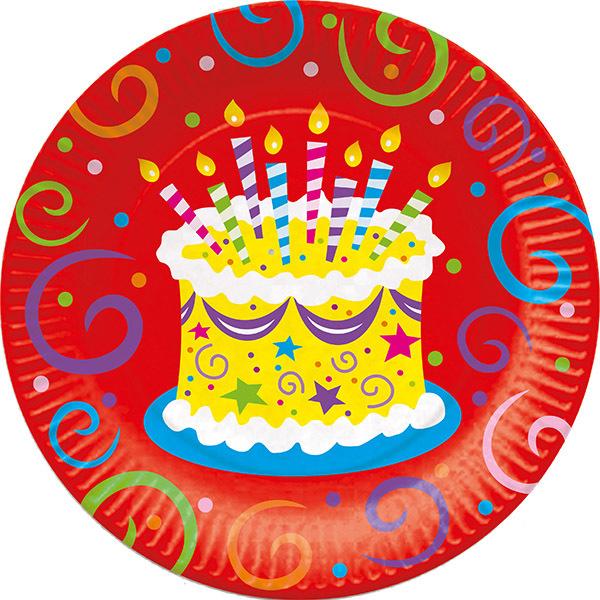 Тарелки бумажные ламинированные Торт яркий 23см 6шт